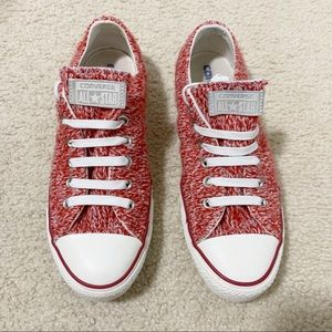 Converse CTAS Red Knit Sneakers 9 Women's Rare